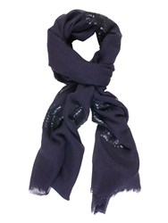 Chesca Sequin Feather Placement Scarf Blue