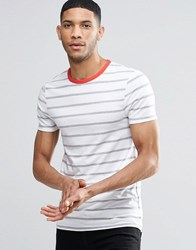 Asos Muscle T Shirt With White And Grey Stripes And Red Contrast Ringer White Grey Red
