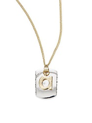 Bcbgeneration Two Tone Dog Tag Initial Pendant A Silver Gold