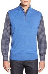 Men's Peter Millar Quarter Zip Merino Wool Vest Scottish Blue