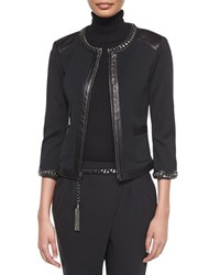 St. John Curb Chain And Leather Trimmed Jacket Women's
