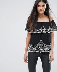 Lipsy Off Shoulder Top With Beading Black