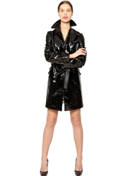 Jose' Sanchez Patent Leather Trench Coat Black