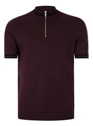 Topman Red Burgundy Zip Neck Knitted T Shirt