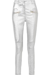 Sies Marjan Brin Metallic Textured Leather Skinny Pants Silver