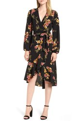 Bobeau Faux Wrap Dress Black Mustard Floral
