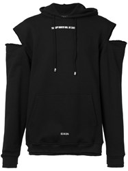 Icosae Cut Out Shoulders Hoody Black