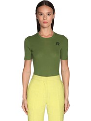 Rochas Cotton Rib Knit Top Green
