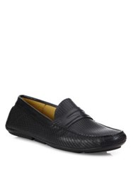 Aquatalia By Marvin K Bruce Leather Slip On Driver Shoes Black