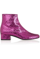 Saint Laurent Glitter Finished Leather Ankle Boots Pink
