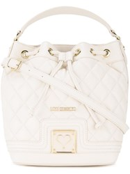 Love Moschino Quilted Drawstring Crossbody Bag White