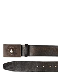 Dsquared2 Logo Buckle Vintage Effect Leather Belt