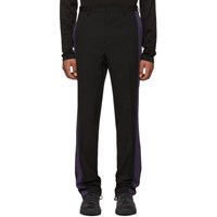 Lanvin Black And Purple Wool Band Trousers