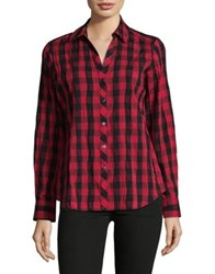 Lord And Taylor Checkered Button Down Shirt Scarlet