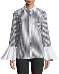 5Twelve Pinstriped Flare Sleeve Button Front Blouse Black Pattern