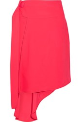 Marni Asymmetric Draped Twill Wrap Skirt Bright Pink