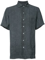 Massimo Alba Short Sleeve Shirt Men Linen Flax M Blue