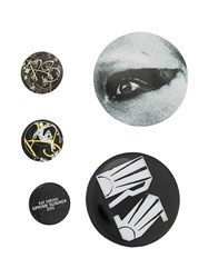Raf Simons Set Of 5 Graphic Pins Metallic