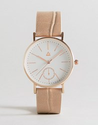 Asos Curve Large Clean Dial Watch With Faux Crocodile Strap Nude Cream