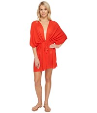 Echo Solid Open Front Caftan Cover Up Rouge Women's Swimwear Red