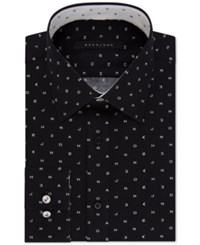 Sean John Men's Classic Regular Fit Logo Print Dress Shirt Shadow