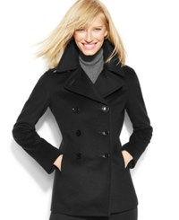 Calvin Klein Wool Cashmere Blend Peacoat With Free Infinity Scarf Black