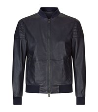 Boss Ribbed Shoulder Leather Bomber Jacket Male Navy