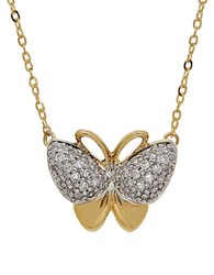 Lord And Taylor Diamond And 14K Yellow Gold Butterfly Pendant Necklace