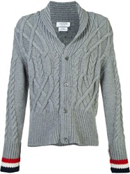 Thom Browne Thick Cable Knit Cardigan Grey