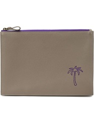 Tomas Maier Palm Tree Embroidered Clutch Grey