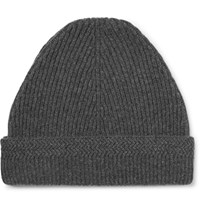 Maison Martin Margiela Ribbed Cashmere And Wool Blend Beanie Gray
