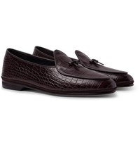 Rubinacci Marphy Suede Trimmed Croc Effect Leather Loafers Dark Brown