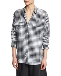 Tibi Long Sleeve Oversized Gingham Utility Shirt Navy White Navmu