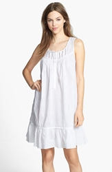 Eileen West 'Stellar Sky' Embroidered Short Nightgown White White Embroidery