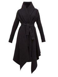 Norma Kamali Asymmetric Cotton Blend Coat Black