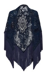 Martha Medeiros Embroidered Shawl With Fringe Trim Navy