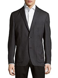 Saks Fifth Avenue Herringbone Wool Jacket Charcoal