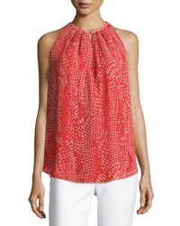 Ramy Brook Piper Sleeveless Pleated Ibiza Geo Print Top Red Pattern