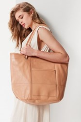 Urban Outfitters Leather Bucket Tote Bag Neutral