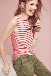 Anthropologie Terry Striped Tank Top Red Motif