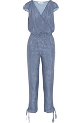 Paloma Blue Manhattan Embellished Printed Silk Crepe De Chine Jumpsuit Navy