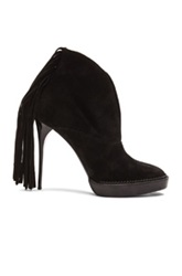 Burberry Prorsum Nadie Suede Fringe Booties In Black