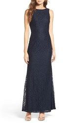 Lulus Women's Cowl Back Lace Mermaid Gown Navy