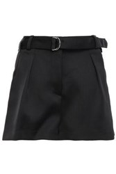 3.1 Phillip Lim Woman Belted Pleated Satin Crepe Shorts Black
