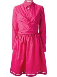 Carven Flared Shirt Dress Pink And Purple