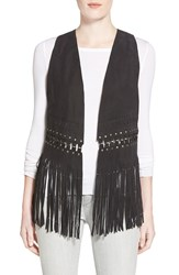 Rebecca Minkoff 'Blondie' Nubuck Leather Fringe Vest Black