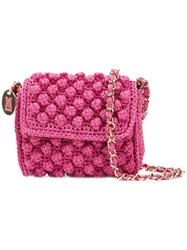 M Missoni Knitted Cross Body Bag Women Cotton Polyamide Polyester Metallic Fibre One Size Pink Purple