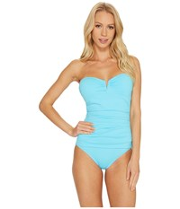 Tommy Bahama Pearl V Front Bandeau One Piece Swimsuit True Turquoise Women's Swimsuits One Piece Blue