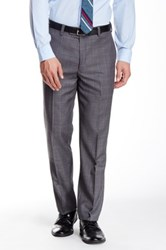 Louis Raphael Windowpane Flat Front Wool Pant Gray