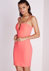 Missguided Strappy Square Neck Bodycon Dress Neon Coral Pink